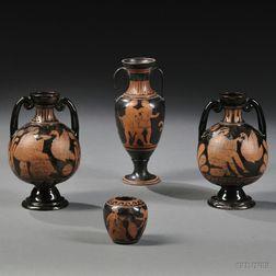 Four Grand Tour Red Figure Ceramic Vessels