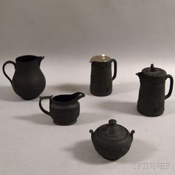 Five Mostly Wedgwood Black Basalt Vessels