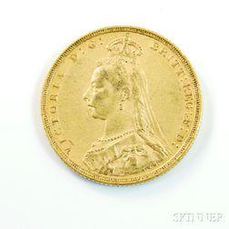 1889-M British Gold Sovereign.     Estimate $200-300