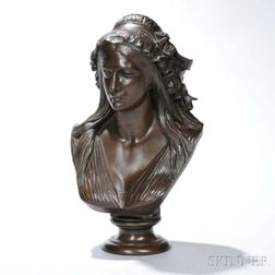 After Jean-Baptiste Clesinger (French, 1814-1883)       Bronze Bust of Charlotte Corday