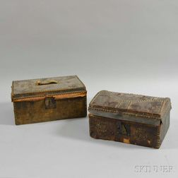 Two Atkins Clark Leather-bound Tack-decorated Boxes