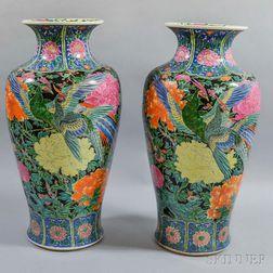 Pair of Famille Noir Vases