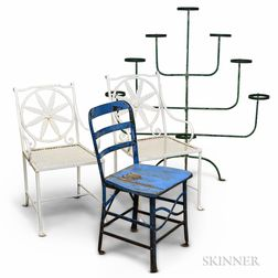 Three Painted Iron Patio Chairs and a Green-painted Iron Eight-tier Plant Stand