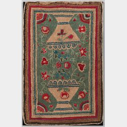 Hooked Rug with Urns of Flowers