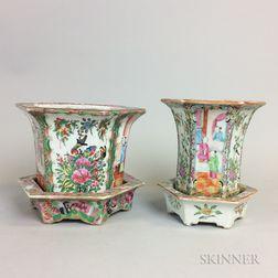 Two Rose Medallion Porcelain Hexagonal Planters