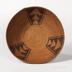 California Coiled Pedestal Basketry Bowl