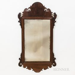 Two Mahogany Scroll-framed Mirrors