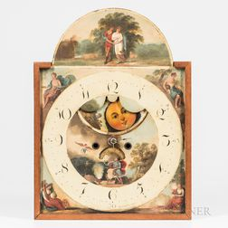 White-painted and Polychrome-decorated Iron Clock Dial