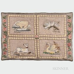 """Erica Wilson (British/American, 1927-2016) """"Emblems of Peace"""" Embroidered Wall Hanging"""