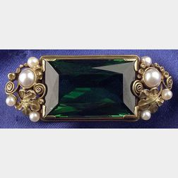 Arts & Crafts 14kt Gold, Green Tourmaline and Seed Pearl Brooch, Edward Oakes