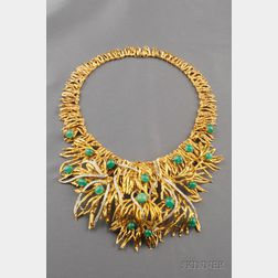 "18kt Gold, Platinum, Emerald, and Diamond ""Voodoo"" Necklace, Marianne Ostier"