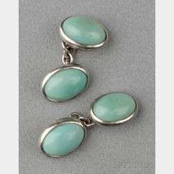 Platinum and Turquoise Cuff Links