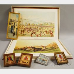 Portfolio After Catlin, and Five Framed Miniature Paintings