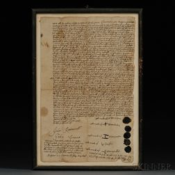 Two Colonial Connecticut Land Purchase Deeds with Indian Signatures