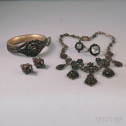 Assembled Suite of Garnet Jewelry
