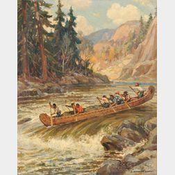 Adam Sherriff Scott (Canadian, 1887-1980)      Canoeing the Rapids