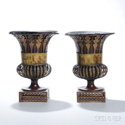 Pair of Painted Tole Grand Tour Urns