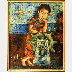 Francisco Pujol (Spanish, b. 1927)      Child Resting on the Wheel of a Ship