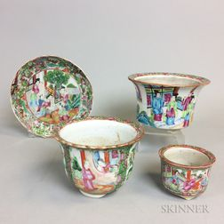 Three Rose Medallion Porcelain Planters and a Dish