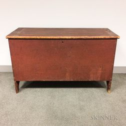 Country Red-painted Pine Six-board Chest