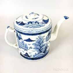 Chinese Export Blue and White Canton Porcelain Teapot