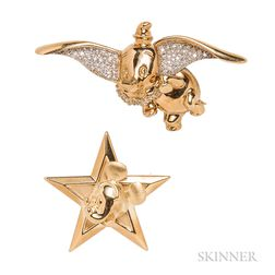 Two 18kt Gold Brooches, Disney