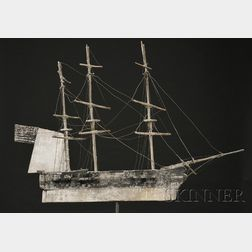 Painted Wood Ship Weathervane