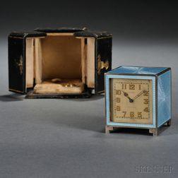 Swiss Silver and Enamel Travel Clock