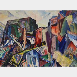 Leighton R. Cram (American, 1895-1981)      Cubist Town View.