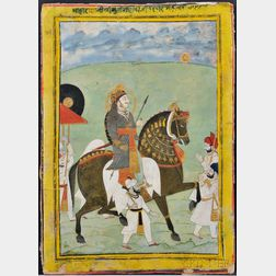 Miniature Painting of an Emperor on Horseback