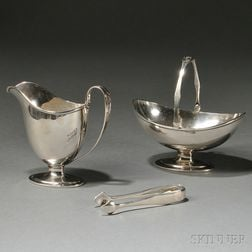Arthur Stone Sterling Creamer, Sugar Basket, and Tongs