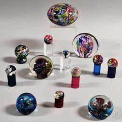Thirteen Decorative Glass Paperweights