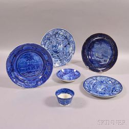 Six Pieces of Staffordshire Historic Blue Transfer-decorated Tableware