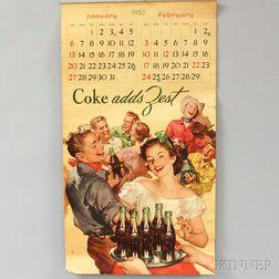 1952 Coca-Cola Calendar.     Estimate $20-200