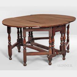 Baroque-style Yewwood Gate-leg Table