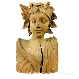 Carved Pine Bust of an Allegorical Figure