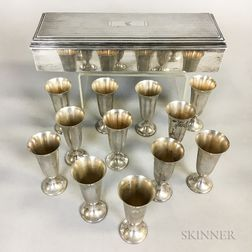 Twelve Gorham Sterling Silver Cordials and a Sterling Silver Wood-lined Card Box