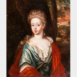 British School, 18th Century      Young Woman in Blue with a Red Cloak
