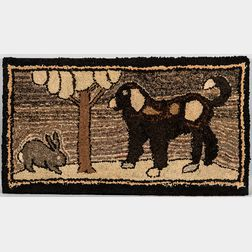 Rabbit and Dog Hooked Rug
