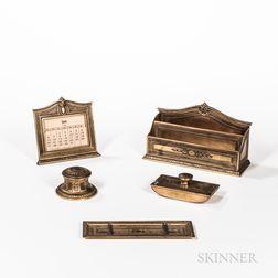Tiffany and Company Five-piece Adams Pattern Desk Set