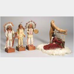 Four Native American Dolls