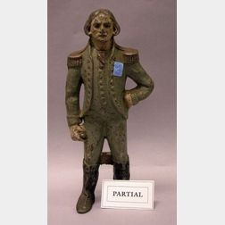 Painted Cast Aluminum George Washington Figure and an American Eagle Decorated Brass Wood and Steel Sword.