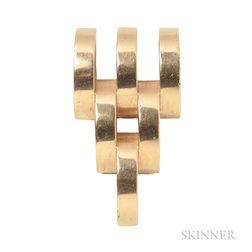 Retro 14kt Gold Dress Clip, Cartier
