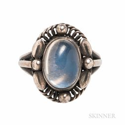 Georg Jensen Sterling Silver and Moonstone Ring