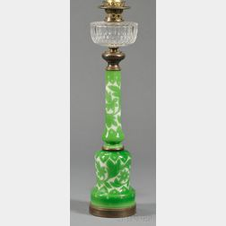 Green Cased Cut Glass Oil Lamp Base