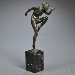 After Lucien Charles Edouard Alliot (French, 1877-1967)       Bronze Figure of a Nude Dancer