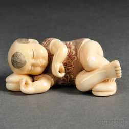 Ivory Okimono of a Sleeping Boy