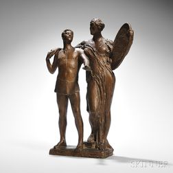Daniel Chester French (American, 1850-1931)      Maquette Bronze of Two Figures (perhaps a Youth with a Muse)
