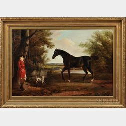British School Style, 20th Century      English Horse and Horseman with Hound