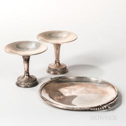 Three Pieces of Georg Jensen-style Sterling Silver Tableware